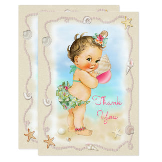 Brunette Beach Baby Conch Shell Thank You Card