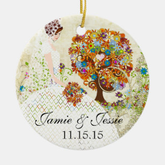 Brunette Birdesmaid Gifts Flower Tree Ceramic Ornament