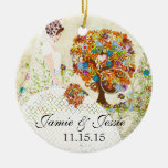 Brunette Birdesmaid Gifts Flower Tree Christmas Tree Ornaments