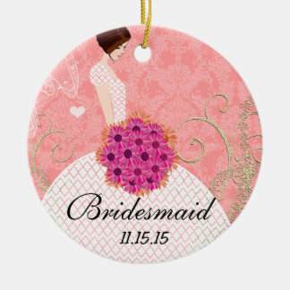 Brunette Birdesmaid Gifts You Choose Colors Ceramic Ornament