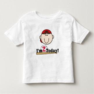 Brunette Boy Baseball 2nd Birthday Toddler T-shirt