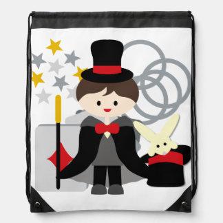 Brunette Boy Magician Drawstring Bag