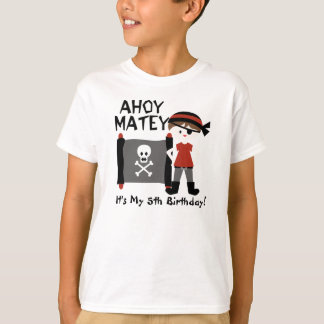 Brunette Boy Party Like a Pirate Custom Tshirt