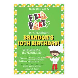 Brunette Boy Pizza Party Birthday Invitation