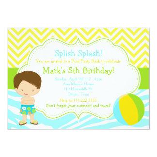 Brunette Boy Pool Party Bash Party Card