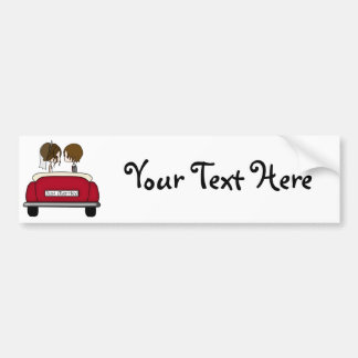Brunette Bride and Groom in a Red Wedding Car Bumper Sticker
