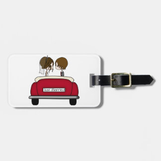 Brunette Bride and Groom in a Red Wedding Car Luggage Tag