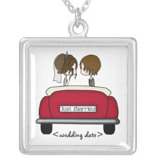 Brunette Bride and Groom in a Red Wedding Car Square Pendant Necklace