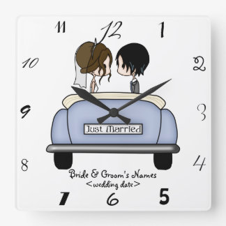 Brunette Bride & Black Haired Groom Clock