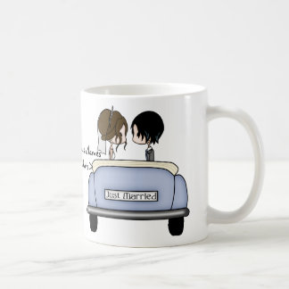 Brunette Bride & Black Haired Groom Coffee Mug