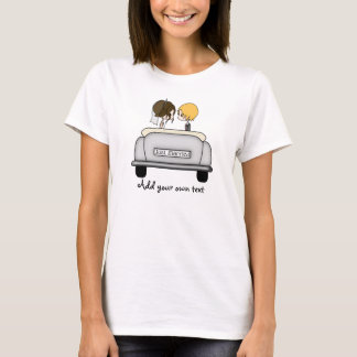 Brunette Bride & Blonde Groom in Grey Car T-Shirt