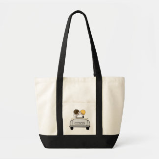 Brunette Bride & Blonde Groom in Grey Car Tote Bag