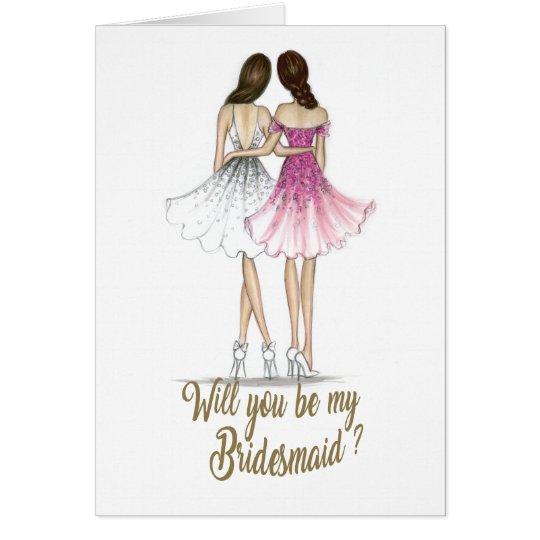 Brunette Bride Brunette Bridesmaid Card