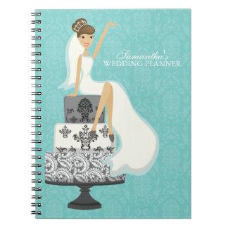 Brunette Bride on Wedding Cake aqua Spiral Note Books