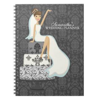 Brunette Bride on Wedding Cake Notebook