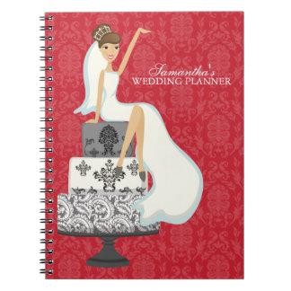 Brunette Bride on Wedding Cake red Spiral Notebook