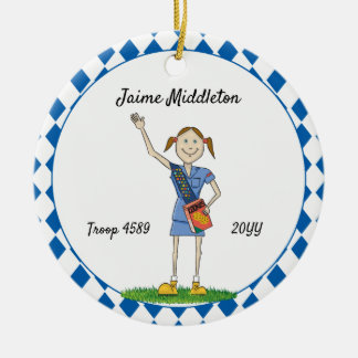 Brunette Cadette Girl Scouting Blue Diamond Shape Ceramic Ornament