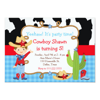 Brunette Cowboy Western Birthday Party Card