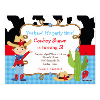 Brunette Cowboy Western Birthday Party Postcard