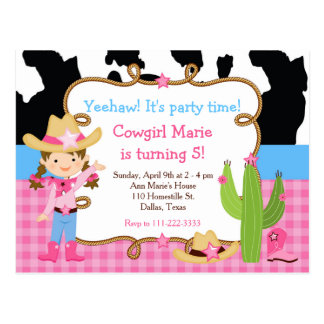 Brunette Cowgirl Western Birthday Party Postcard