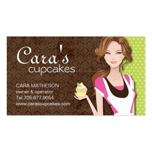 Brunette Cupcake Girl Business Cards