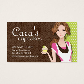 Brunette Cupcake Girl Business Cards