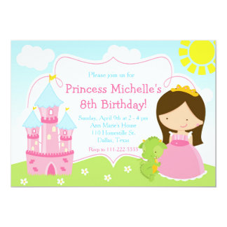 Brunette Cute Princess and Dragon Birthday Party Card