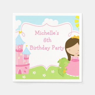 Brunette Cute Princess and Dragon Birthday Party Disposable Napkin