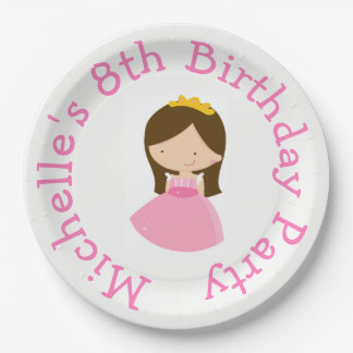 Brunette Cute Princess and Dragon Birthday Party Paper Plate