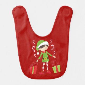 Brunette Elf with Presents Bib