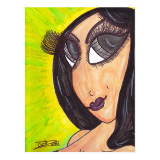 Brunette Eyelashes Postcard
