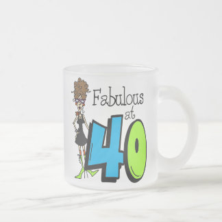 Brunette Fabulous at 40 Birthday Frosted Glass Coffee Mug