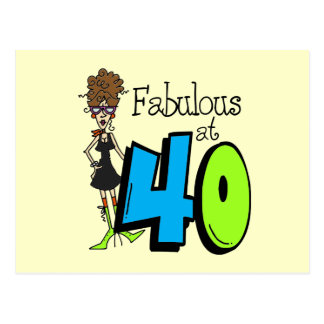 Brunette Fabulous at 40 Birthday Postcard