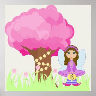 Brunette Fairy Monogram Poster