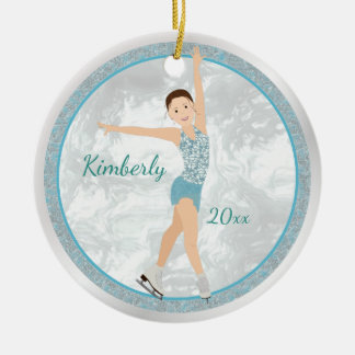 Brunette Figure Skater In Aqua Ceramic Ornament