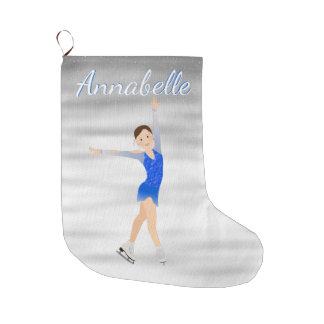 Brunette Figure Skater In Blue Large Christmas Stocking