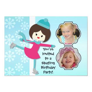 Brunette Girl Birthday Skating Party Invitation