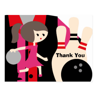 Brunette Girl Bowling Birthday Thank You Postcard