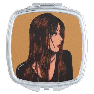 Brunette Girl Compact Mirror