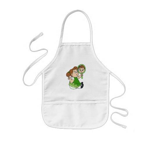 Brunette girl green dress apron