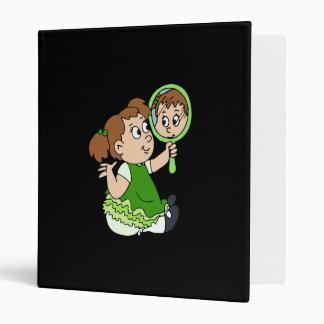 Brunette girl green dress vinyl binder