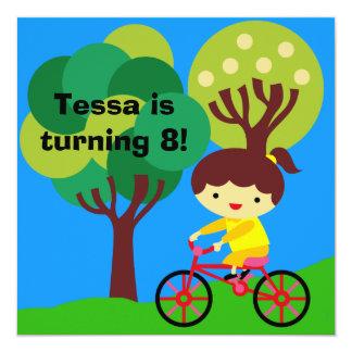 Brunette Girl on Bicycle Birthday Invitation