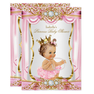 Brunette Girl Princess Baby Shower Pink Silk Gold Card