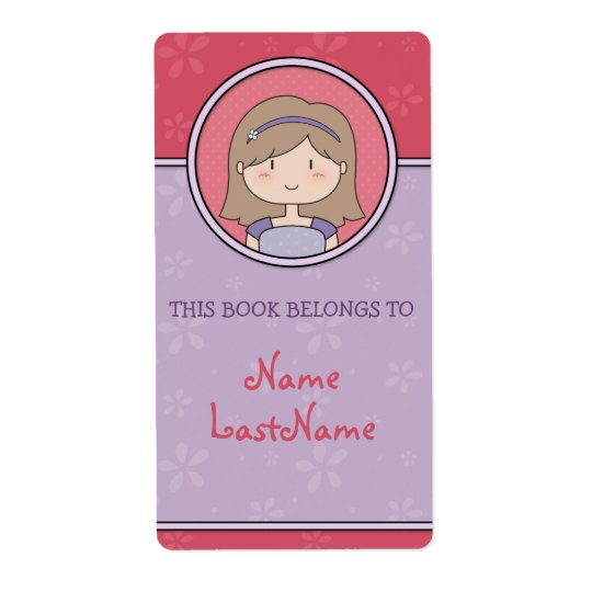 Brunette Girl -- This Book Belongs To... Shipping Label