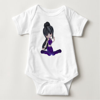Brunette Girl with Lilac Clothing Baby Bodysuit
