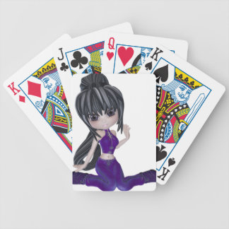 Brunette Girl with Lilac Clothing Bicycle Playing Cards
