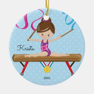 Brunette Gymnast Gymnastics Christmas Ornament