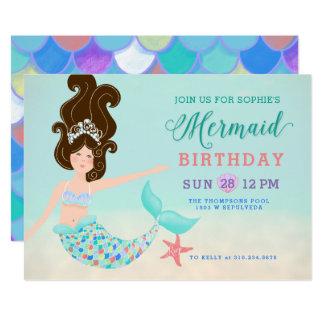 Brunette Hair Pale Skin Mermaid Birthday Party Card