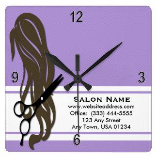 Brunette Hair Stylist Scissors Wall Clock