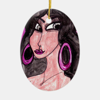 Brunette in Purple Ceramic Ornament